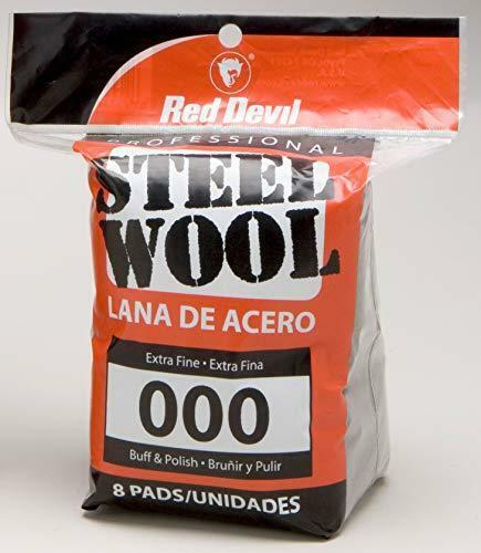 Red Devil 0321, 000 Extra Fine, (Pack of 8) Steel Wool, 8 Pads