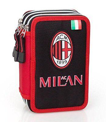 Astuccio Scuola AC MILAN 3 Zip COMPLETAMENTE accessoriato GIOTTO-FILA