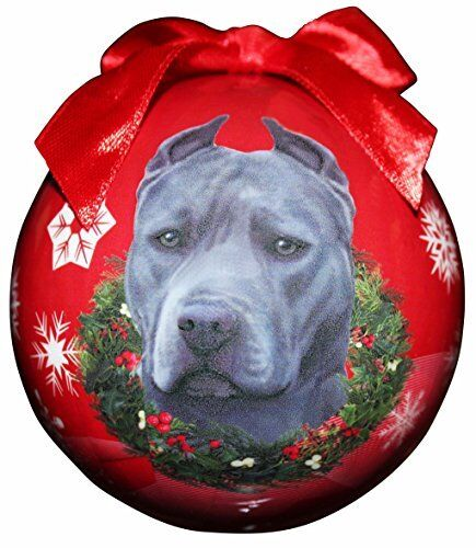 """""""Blue Pit Bull Christmas Ornament"""" Shatter Proof Ball Easy To Personalize"""
