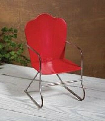 "Lovvbugg Red Metal Retro Chair for 18"" American Girl Doll Furniture"