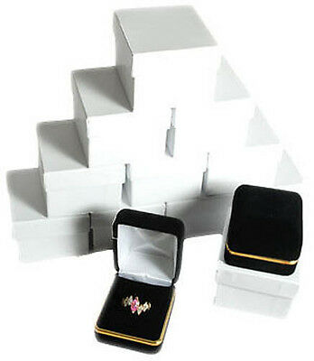 12 Piece Black Velvet Ring Jewelry Gift Boxes Gold Trim 1 78 X 2 18 X 1 12