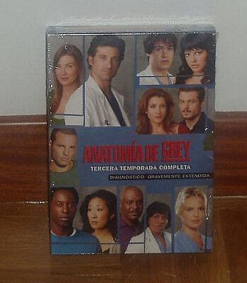 ANATOMIA DE GREY 3º TEMPORADA COMPLETA 7 DVD NUEVO PRECINTADO (SIN ABRIR)...