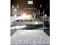 Ikea white metal kingsize bed fame