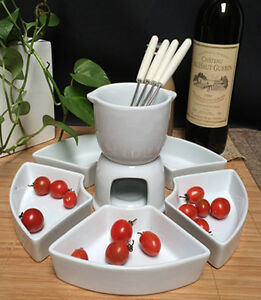 Ceramic Chocolate or Cheese Fondue Set with Stainless Steel Forks and 5 x Plates