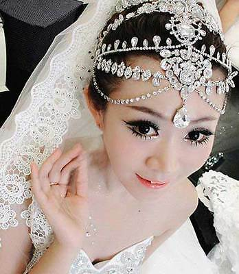 Rhinestone Hair Tiara Dangle Tikka Vintage Princess Crown Wedding Headpiece