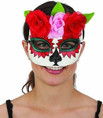 Day of the Dead Sugar Skull Plaster Hand Painted Mask with Flowers Halloween - Sugar Skull Halloween Paint