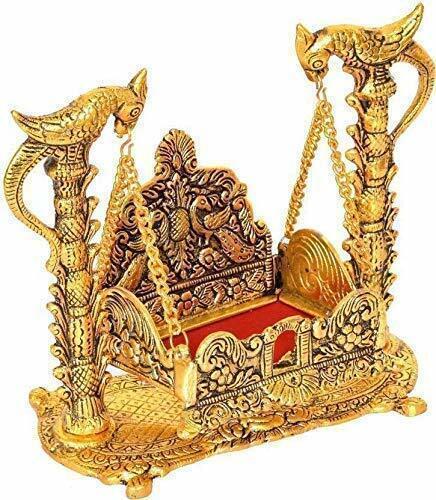 Metal Krishna Jhula Laddu Gopal Jhula For Home And Office 16.5 x 9 x 16.5 cm