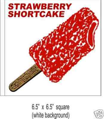 2 Strawberry Shortcake Ice Cream Concession Decal 6.5 Food Truck Vinyl Sticker