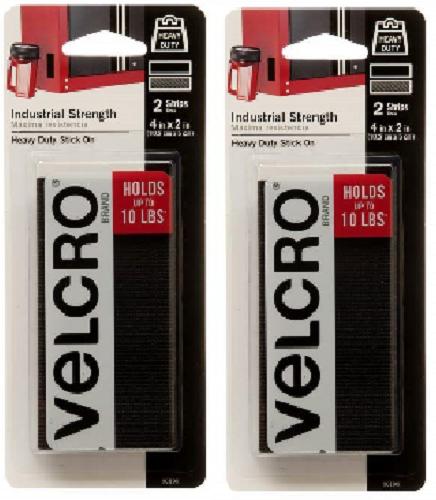 Velcro® 2 Pack 90199 2″ x 4″ Black Velcro Industrial Strength Strips (2 Packs!) Crafts