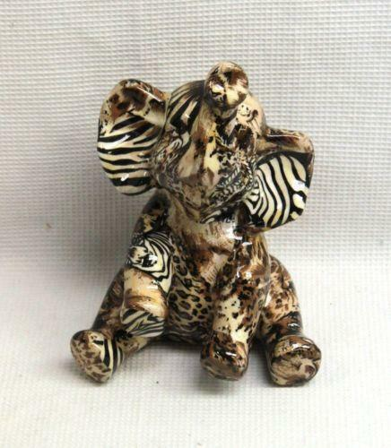 Small Elephant Decor: Safari Patchwork: Collectibles