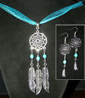 Turquoise Fabric Sterling Silver Fashion Necklaces & Pendants 16 inches Length