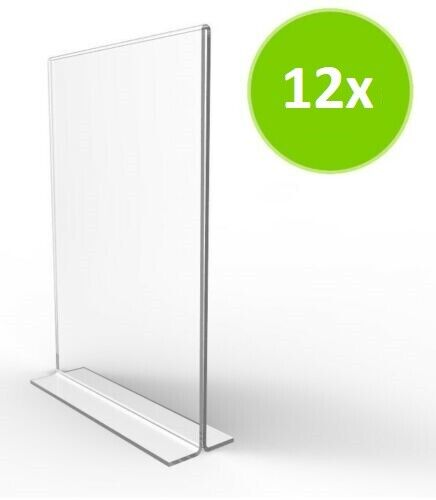 """12 Pack of 5"""" X 7"""" Acrylic Bottom Loading Double Sided Sign"""