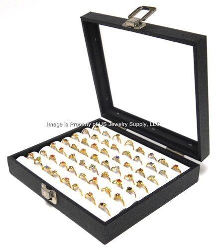 1 Wholesale Glass Top Lid White 7 Row Tufted Display Organizer Storage Box Case