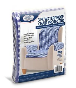 3pc waterproof chair protector cover slip stain spill for Waterproof sofa cover incontinence