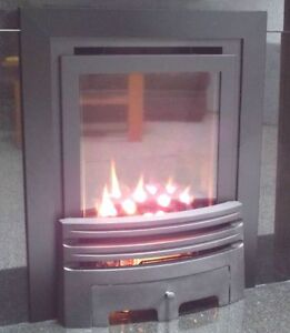 NEW SLIMLINE HIGH EFFICIENCY 86% INSET  BLACK GAS FIRE GLASS FRONTED FIRE 90%