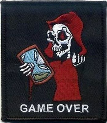 GAME OVER With REAPER GRIM Funny Halloween Biker MC Club NEW Vest Patch - Halloween Over Funny