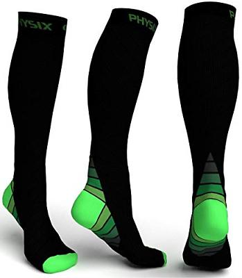 Physix Gear Compression Socks for Men & Women 20-30 mmhg Gra