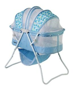 Dream-On-Me-Karley-Travel-Space-Saver-Baby-Bassinet-BLUE-and-White-NEW