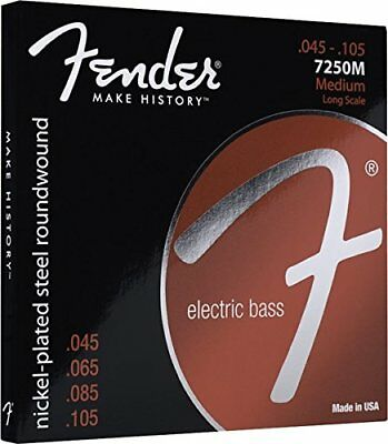 Fender 7250M NPS Roundwound Electric Bass Strings, Long-Scale MEDIUM 45-105