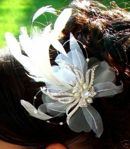 Ivory Vintage Feather Fascinator Headpiece Bridal Hair Combs