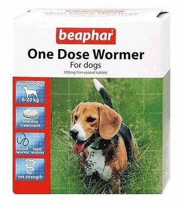 BEAPHAR ONE DOSE WORMER WORMING MED DOG 6-20KG 2 TABLET VET STRENGTH TREATMENT