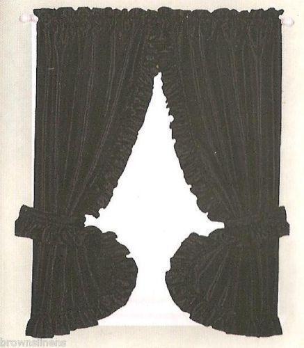 Black Ruffle Curtains Ebay
