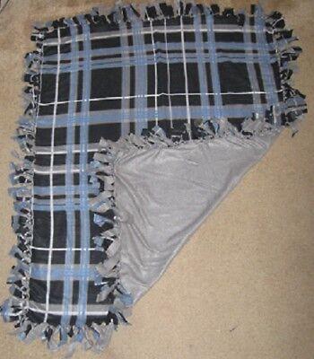 Cat/Dog Fleece Large Crate, Adult Cuddle Blanket - Homemade -Blue, Black, Gray
