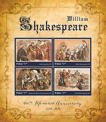 Palau- 2016 William Shakespeare memorial Stamps Sheetlet of 4 MNH