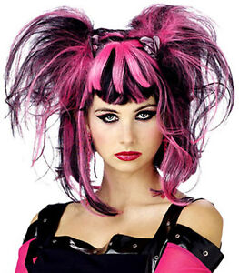 LADIES 80s BLACK PINK CYBER GOTH PUNK BUNCHES FANCY DRESS COSTUME WIG NEW