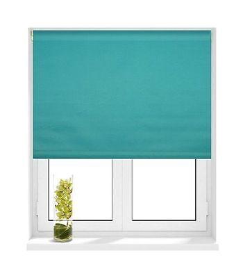 BLACKOUT Roller Blind. Teal Turquoise. 90cm width x 170cm max drop