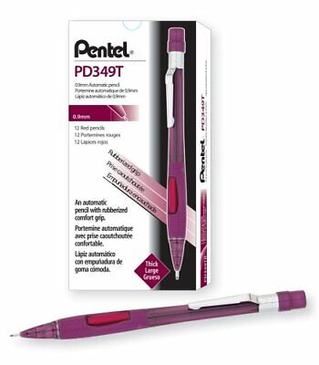 Pentel Quicker Clicker Automatic Pencil 0.9mm Lead Size Transparent Red Barrel