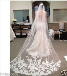 Brautschleier Hochzeit Accessoires 3m Länge Spitze Weiß Tüll Kathedrale Schleier