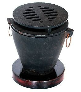 cast iron w wood base hibachi set grill charcoal barbecue bbq outdoor cooking ebay. Black Bedroom Furniture Sets. Home Design Ideas