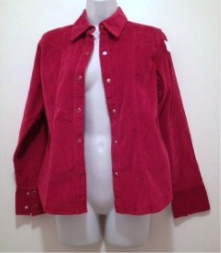 Gap Stretch Red Velvet Shirt Jacket Women's Size Small Preowned