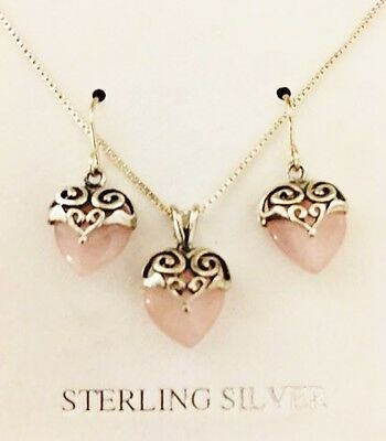 "Pink Rose Quartz 925 Sterling Silver Heart Pendant 20"" Necklace Earring Set New"