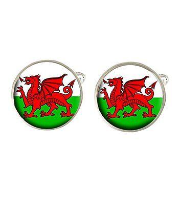 Welsh Flag Baner Cymru Cufflinks Ideal Wedding Birthday Or Fathers Day Gift - Wedding Baner