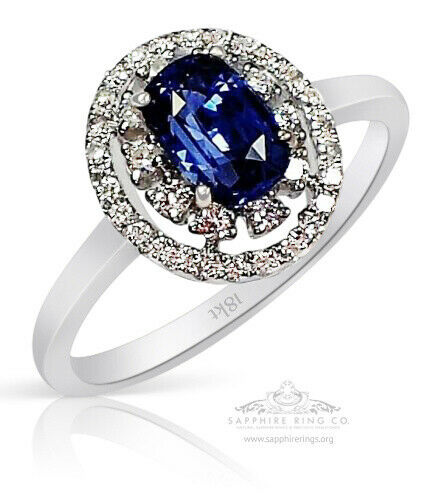 Untreated Certified 18KT 1.30 tcw Blue Cushion Cut Sapphire Engagement Ring