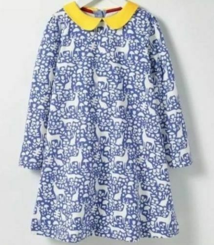 Mini Boden Navy bLUE Ducks Pink Stripe Print Jersey Swing Dress SZ 5-6 6-7