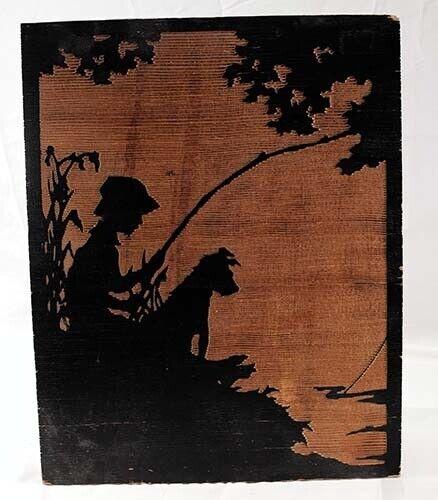 GRAINART Wood Etching Long-Bell Lumber Company Boy Fishing w/Dog