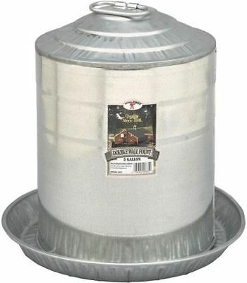 New Little Giant 9835 5 Gallon Double Wall Galvanized Chicken Waterer 5657283