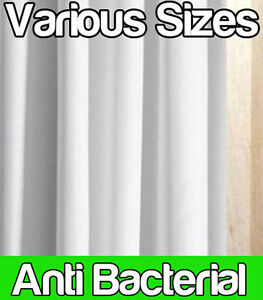ANTI BACTERIAL WHITE POLYESTER SHOWER CURTAIN EXTRA WIDE LONG OPTIONAL RI