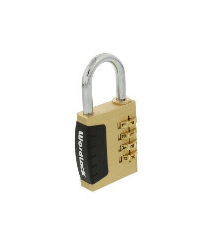 WordLock PL-056-SL Brass Letter Combination Padlock with 4 Dials
