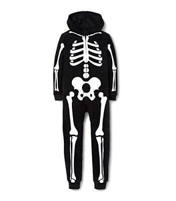 Boy's, Girl's Fleece Hooded Skeleton Pajama Costume Sleeper