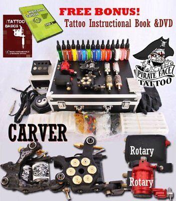 Best Tattoo Kit Includes 4 Machine Guns 15 Inks LCD Power Supply & 50 (Best Tattoo Power Supply)