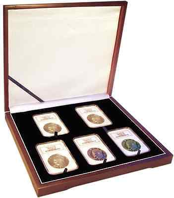 Coin Collector Wood Presentation Box Gift For 5 Graded Certified NGC PCGS Slabs