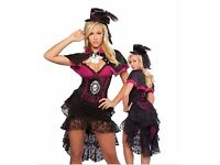 Black and Pink Burlesque Victorian Skull Halloween Fancy Dress Outfit