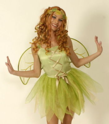 Kostüm Elfe grün 3tlg Kleid Flügel Haarreif 42 44 Fee Feenkostüm Elfenkostüm ()