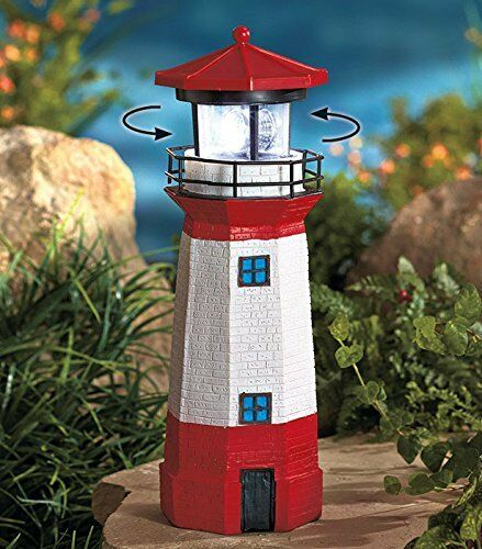 Solar Lighthouse With Rotating Lamp Powered Garden Outdoor Yard