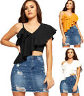 Polyester One Shoulder Women's Ruffle Top
