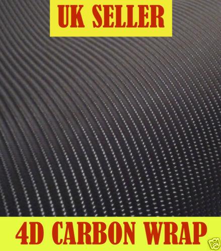 2M x 750MM ROLL 4D CARBON FIBRE VINYL BUBBLE FREE WRAP STICKY BACK PLASTIC